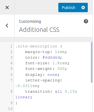 Изглед на панела Additional CSS в WordPress Customizer