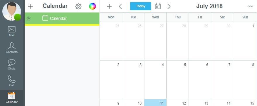 Достъп до календар в главното меню