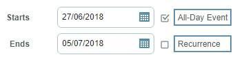 Начална и крайна дата на събитие