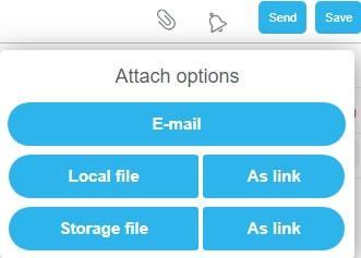 Панел Attach options за прикачване на файлове