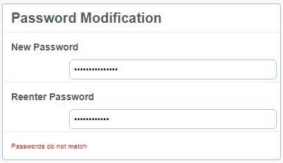 Предупреждение при несъответствие на паролите