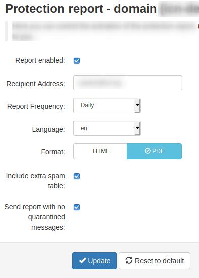 Изглед на интерфейса Protection report - domain