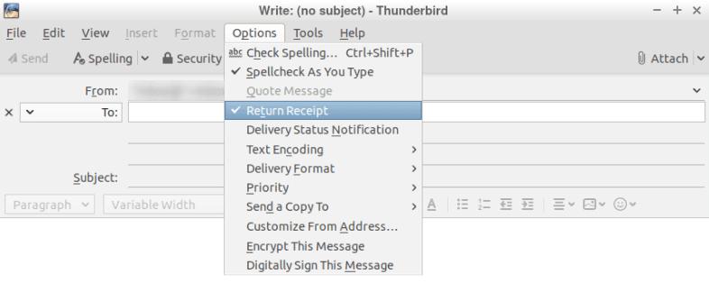 Настройка Return Receipt в панела за нови съобщения
