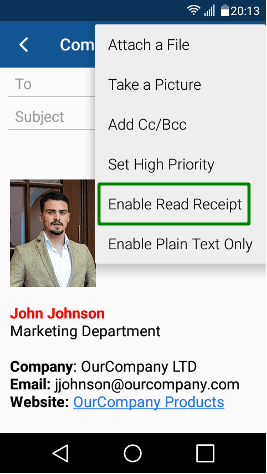 Опция Enable Read Receipt в BlueMail