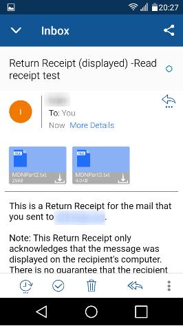 Изглед на обратната разписка в BlueMail