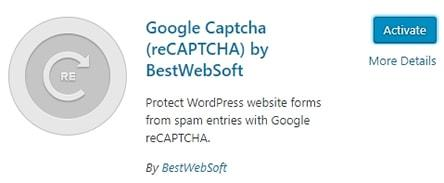 активиране на WordPress плъгин Google Captcha (reCAPTCHA) by BestWebSoft