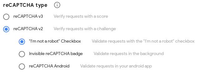 Избиране на типа reCAPTCHA v2
