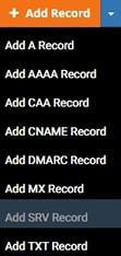 Меню с линкове към интерфейси за DNS записи