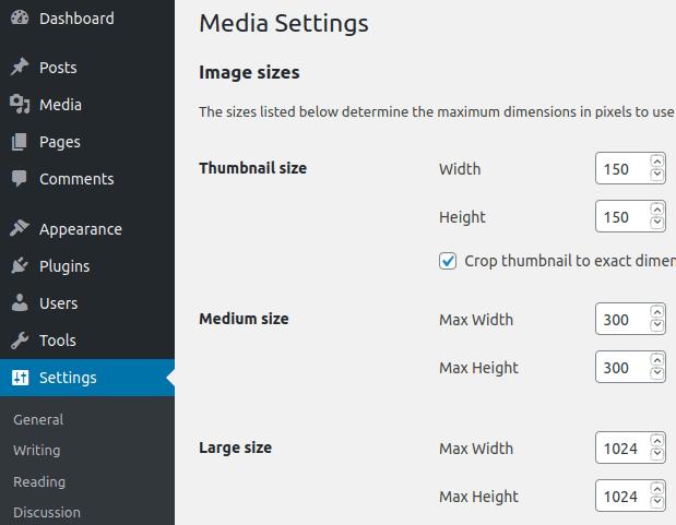 Дефиниране размерите на изображение в WordPress