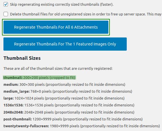 Настройване на плъгина Regenerate Thumbnails