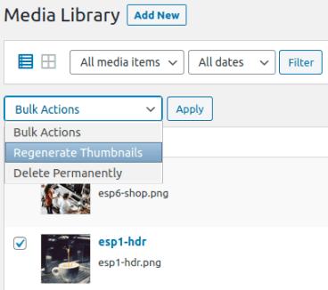 Регенериране на няколко thumbnails в Media Library