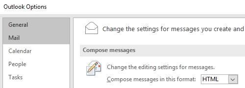 html настройки в Outlook