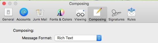 html настройки в Mac Mail