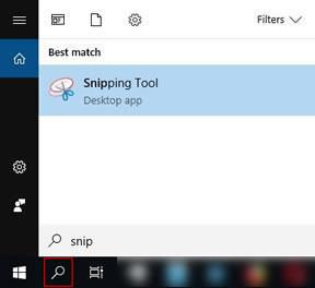 достъп до Snipping Tool