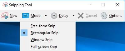 избор на вида screenshot в Snipping Tool