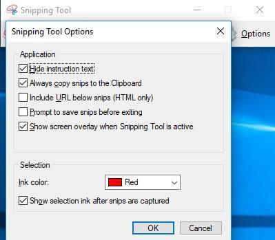 панел с опции на Snipping Tool