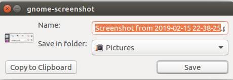 панел за запазване на screenshot като файл или в клипборда