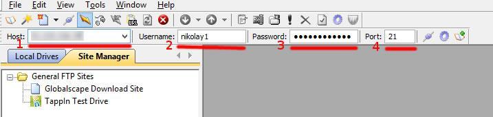 ftp настройки CuteFTP главен интерфейс