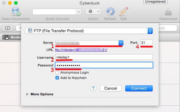 FTP клиент CyberDuck въвеждане на настройки