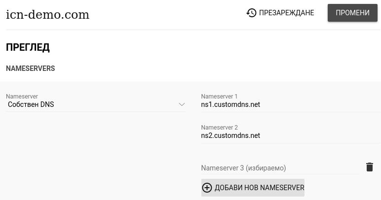Изглед на секция Собствен DNS