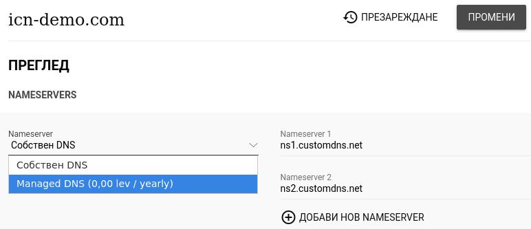 Меню с опции Собствен DNS и Managed DNS