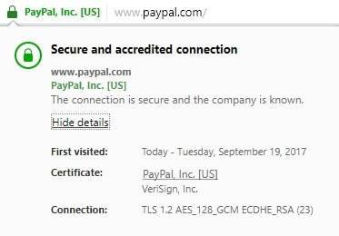 визуализиране на SSL сертификат в браузер