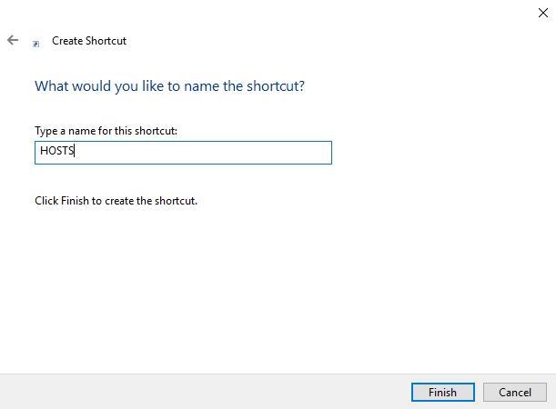 Въвеждане име на иконата за бърз достъп shortcut