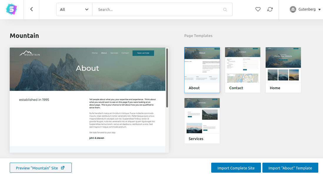 Импортиране на сайт Mountain