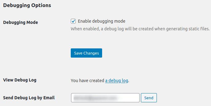 Изглед на секция Debugging Options