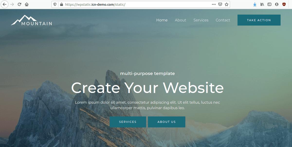 Изглед на статичния сайт в браузър