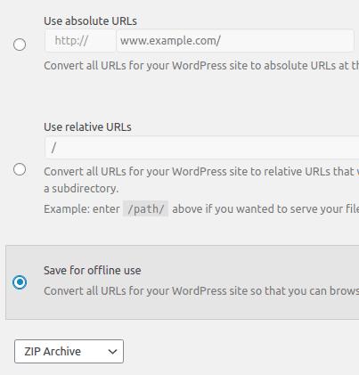 Избор на опция Save for offline use