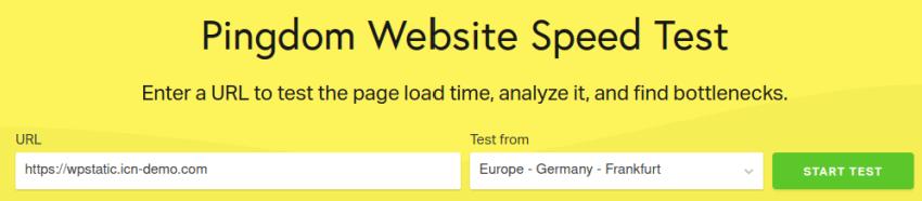 Тест на WordPress страница в Pingdom