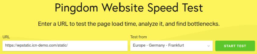 Тест на статична страница в Pingdom
