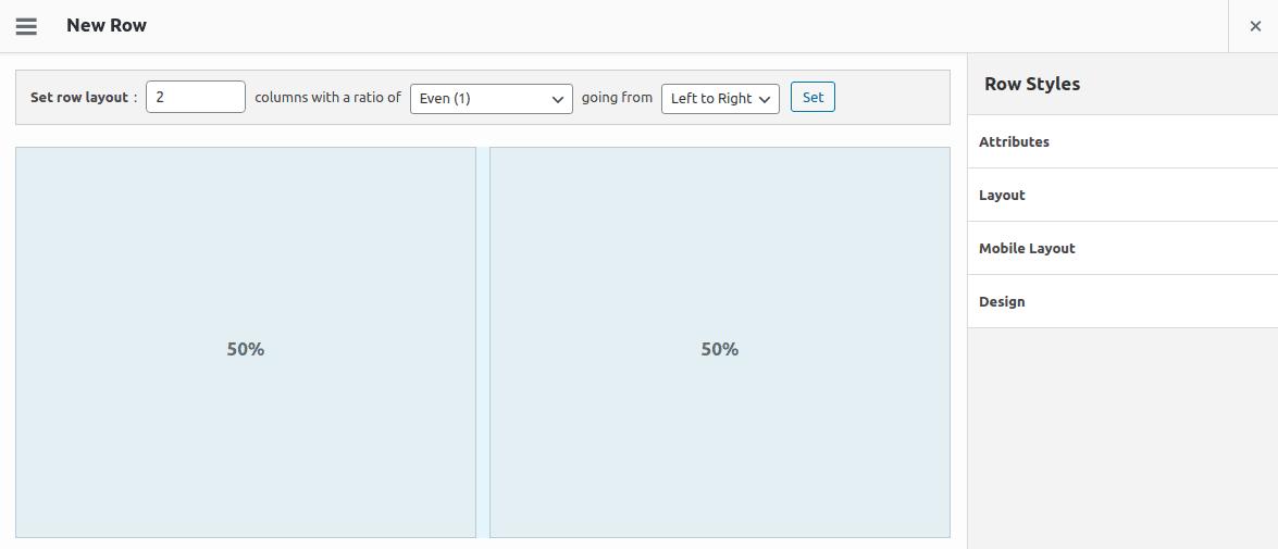 Интерфейс за управление на ред в SiteOrigin