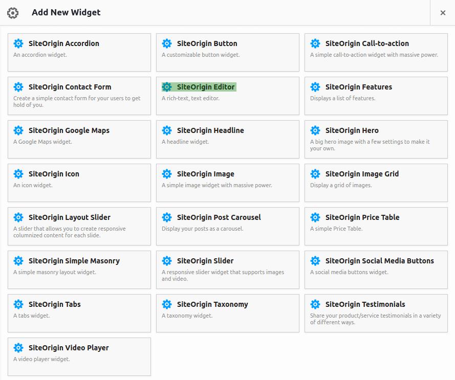 Панел за избиране на widgets