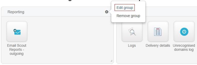 Редактиране на група в панела
