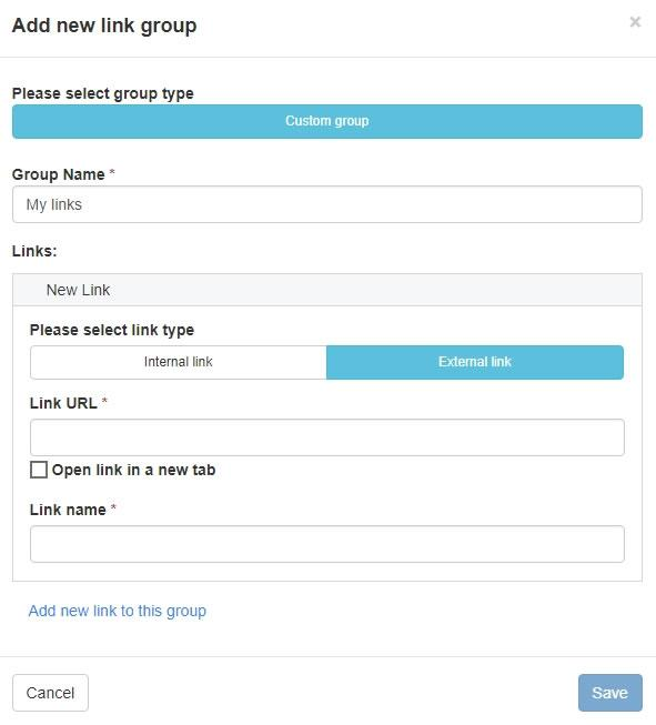 Създаване на външен линк в новата група