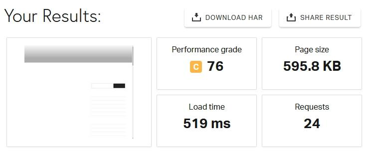 Резултат от тест с Site Speed-Up кеширане