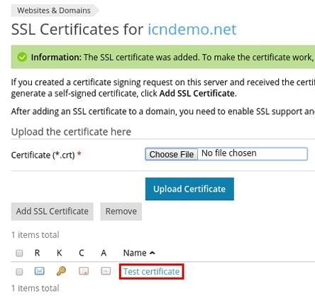 Избиране файловете на сертификата и CA Bundle