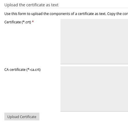 Ръчно копиране на сертификата и CA Bundle в полетата