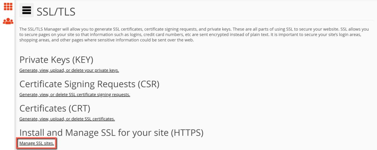 Опции в SSL/TLS менюто