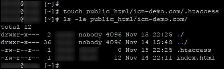 Създаване на .htaccess файл през SSH в терминал