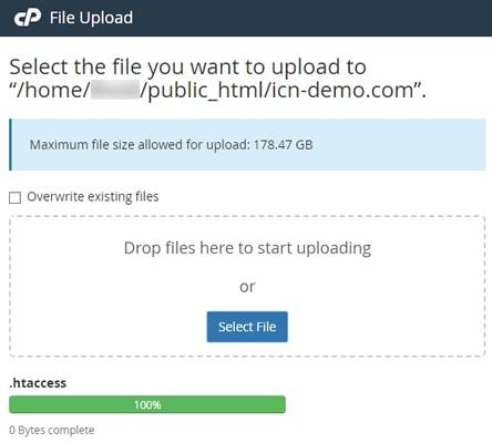Качване на .htaccess файл през Файловия мениджър