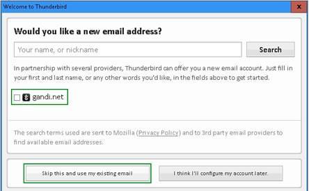 thunderbird предложение за нов имейл акаунт