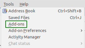 Линк Add-ons в меню Tools