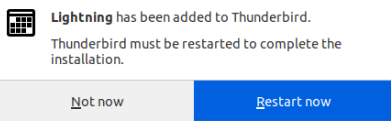 Рестартиране на Thunderbird за завършване на инсталацията