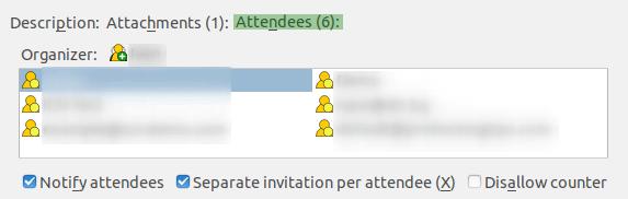 Списък с поканени участници в раздел Attendees