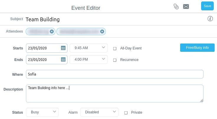 Запазване на събитие в календар в Pronto