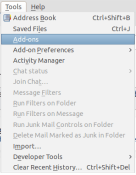 Раздел Tools и линк към разширения Add-ons