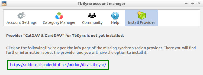 Инструкция за инсталиране на Provider CalDAV & CardDAV for TbSync